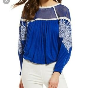 Free People Carly Embroidered Blouse Brand New NWT
